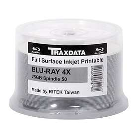 Traxdata BD-R 25GB 4x 50-pack Cakebox Inkjet