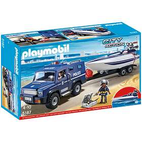 Playmobil Police 5187 Police Truck with Speedboat
