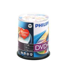 Philips DVD-R 4,7GB 16x 100-pakning Spindel