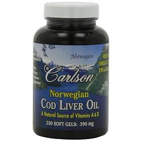 Carlson Labs Norwegian Cod Liver Oil 390mg 250 Capsules