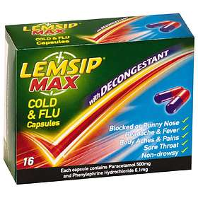 Reckitt Benckiser Lemsip Max Cold & Flu With Decongestant 16 Capsules