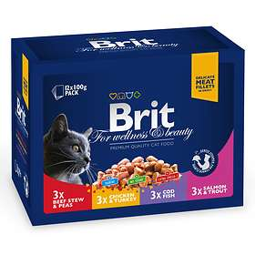 Brit Premium Cat Pouches For Wellness And Beauty 12x0.1kg