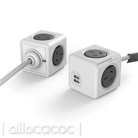 Allocacoc PowerCube Extended 4-Way 2xUSB 3m