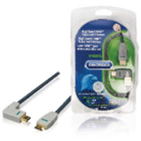 Bandridge Blue HDMI - HDMI High Speed with Ethernet (left angled) 2m