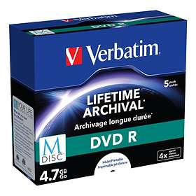Verbatim M-Disc DVD-R 4,7GB 4x 5-pack Jewelcase Inkjet