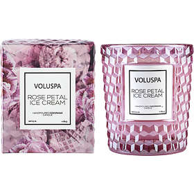 Voluspa Classic Textured Glass Candle Rose Petal Ice Cream