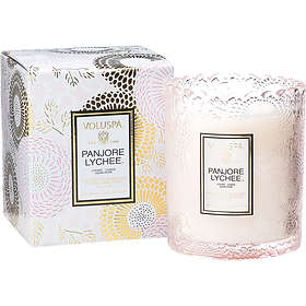 Voluspa Scalloped Edge Embossed Glass Candle Panjore Lychee